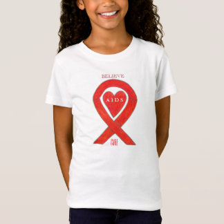 AIDS Red Awareness Ribbon Heart Customized Shirts