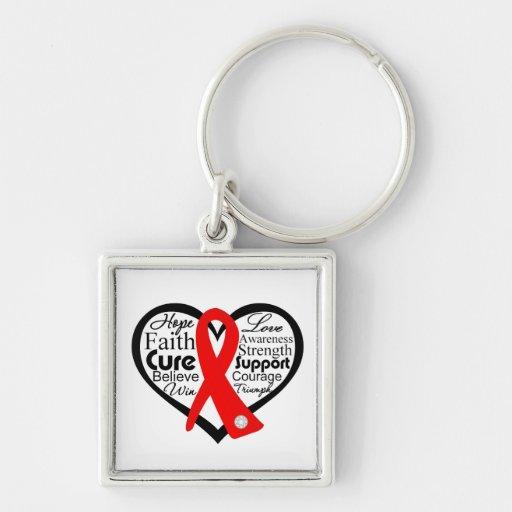 AIDS Ribbon Collage Key Chain