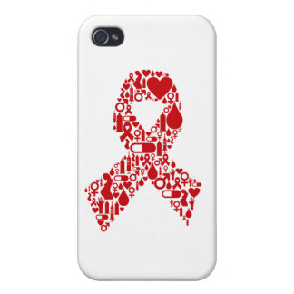 Aids Ribbon Icon Awareness Cover For iPhone 4