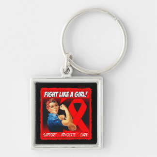 AIDS Rosie Riveter - Fight Like a Girl Silver-Colored Square Key Ring