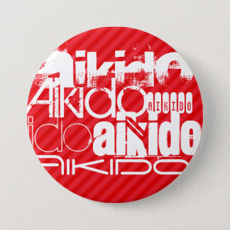 Aikido; Scarlet Red Stripes 7.5 Cm Round Badge