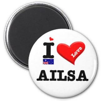 AILSA - I Love 6 Cm Round Magnet