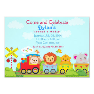 Ainmal Zoo Train Birthday Party Invitation