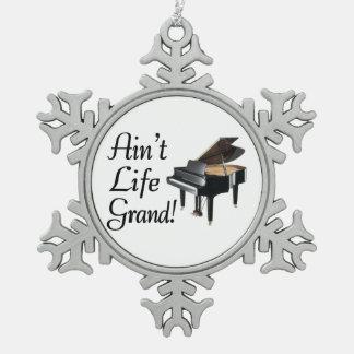 Ain't Life Grand Piano Snowflake Pewter Christmas Ornament