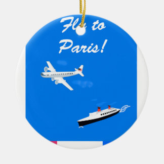Air and ship Vintage Travel Ceramic Ornament