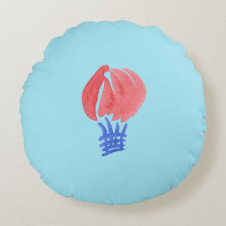 Air Balloon Brushed Polyester Round Throw Pillow