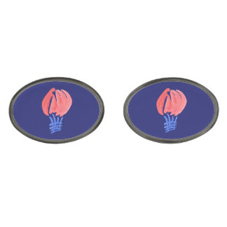 Air Balloon Oval Cufflinks Gunmetal Finish Cufflinks