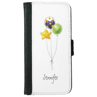 Air Balloon Watercolor Illustration Monogram Name iPhone 6 Wallet Case