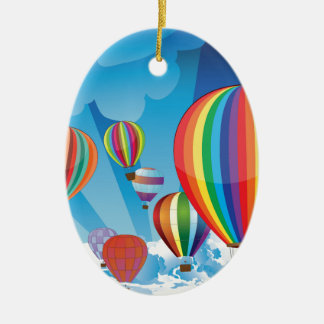 Air Balloons in the Sky 2 Ceramic Oval Decoration