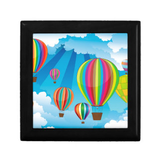 Air Balloons in the Sky 5 Small Square Gift Box