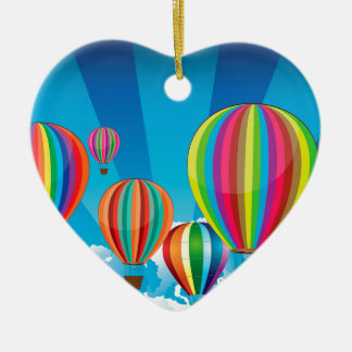 Air Balloons in the Sky Ceramic Heart Decoration