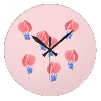 Air Balloons Large Round Wall Clock