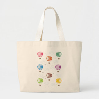 Air Balloons Pattern Large Tote Bag