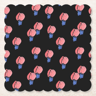 Air Balloons Scalloped Square Paper Coaster