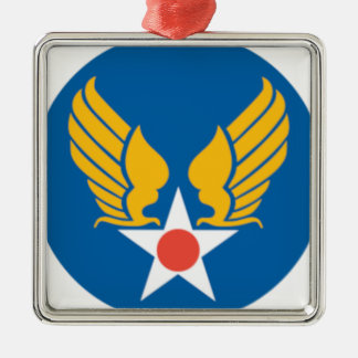 Air Corps Shield Silver-Colored Square Decoration