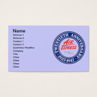 Air Express 20th Anniversary Business Cards