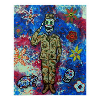AIR FORCE ARMY DAY OF THE DEAD POSTER