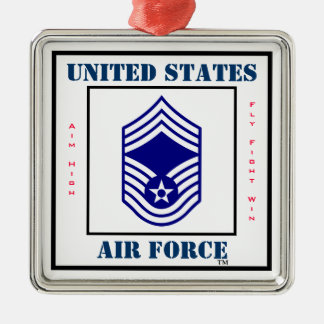 Air Force CMSgt - E-9 Silver-Colored Square Decoration