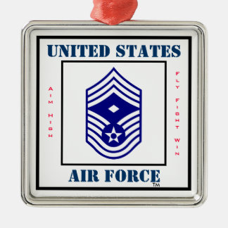 Air Force CMSgt - First Sergeant - E-9 Square Metal Christmas Ornament