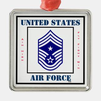 Air Force Command CMSgt - E-9 Square Metal Christmas Ornament