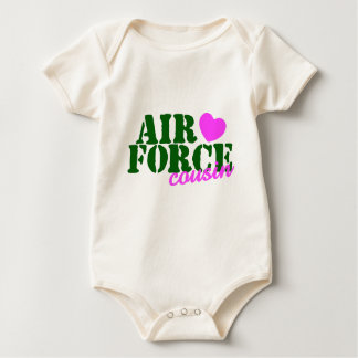 Air Force Cousin Green Pink Baby Bodysuit