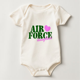 Air Force Daughter Green Pink Heart Baby Bodysuit