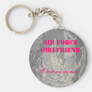 Air Force Girlfriend, I love my... Basic Round Button Key Ring