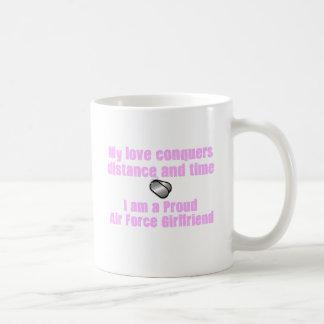 Air Force Girlfriend Love Conquers Basic White Mug