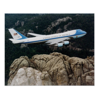 Air Force One over Mount Rushmore Poster