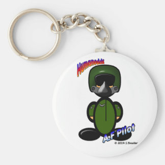 Air Force Pilot (with logos) Basic Round Button Key Ring