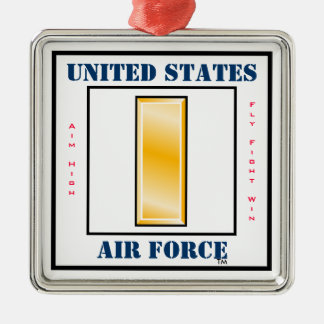 Air Force Second Lieutenant O-2 Square Metal Christmas Ornament