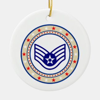 Air Force Senior Airman SrA E-4 Round Ceramic Decoration