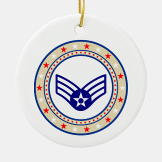 Air Force Senior Airman SrA E-4 Round Ceramic Decoration