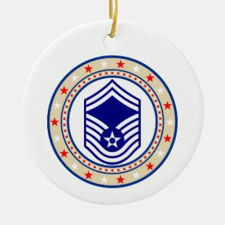 Air Force Senior Master Sergeant E-8 SMSgt Round Ceramic Decoration