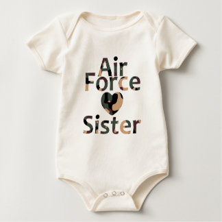 Air Force Sister Heart Camo Baby Bodysuit