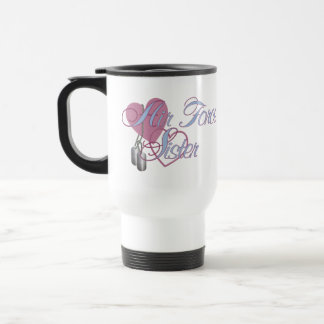 Air Force Sister Hearts N Dog Tags Travel Mug