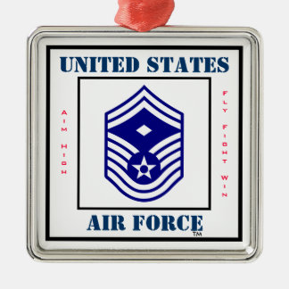 Air Force SMSgt  First Sergeant  - E-8 Square Metal Christmas Ornament