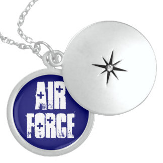 Air Force Sterling Silver Round Locket Necklace
