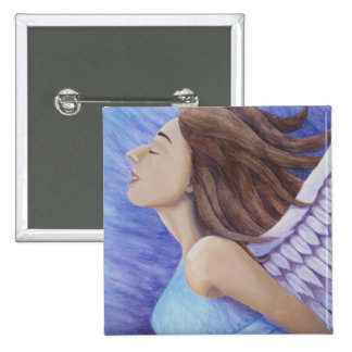 Air Goddess Flying 2 Inch Square Button