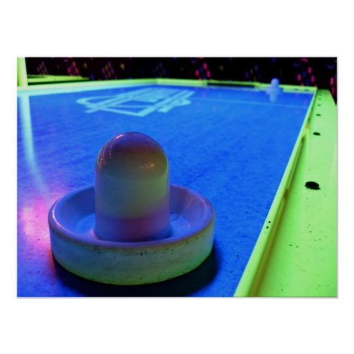 Air Hockey table and mallet with neon lighting Posters