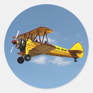 Air Mail Biplane Classic Round Sticker