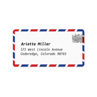 Air Mail Look Address Label