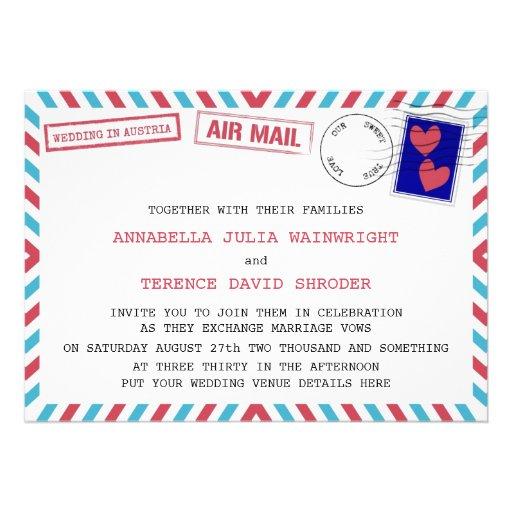 Air Mail Wedding In Austria Invitations