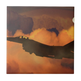Air Plane Fighter Night Sky Moon Clouds Aircraft Ceramic Tile