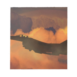 Air Plane Fighter Night Sky Moon Clouds Aircraft Notepad