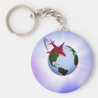 Air Travel Basic Round Button Key Ring