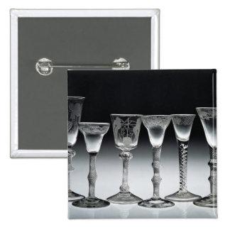 Air-twist glasses, 1750-60 15 cm square badge