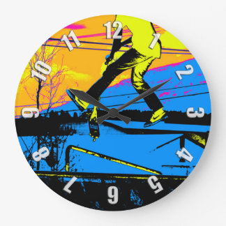 """""""Air Walking!""""  High Flying Scooter Large Clock"""