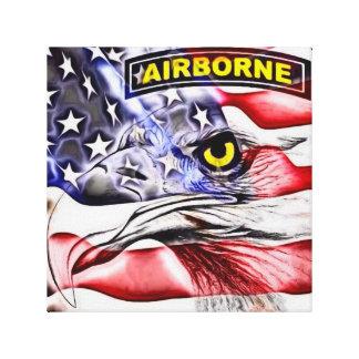 airborne canvas 101 screaming eagle american flag canvas print