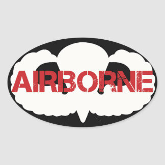 Airborne Crest on BLACK Oval Sticker